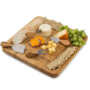 Bamboo Cheese Board Set With Cutlery In Slide-Out Drawer Including 4 Stainless Steel Serving Utensils - Perfect Charcuterie Board and Serving Tray for Entertaining or Gift Giving