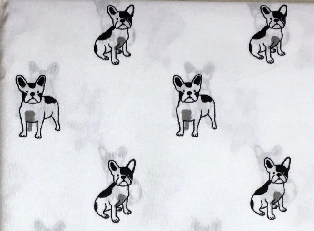 Cynthia Rowley French Bulldog Dog Queen Size Sheet Set 4 pc black and white - microfiber - Vancelette Global Art Acquisitions