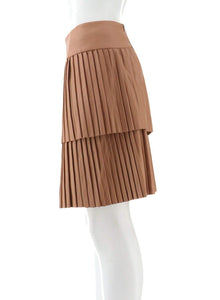 Serena Williams Faux Leather Pleated Skirt Caramel 6 New 521-065 - Vancelette Global Art Acquisitions