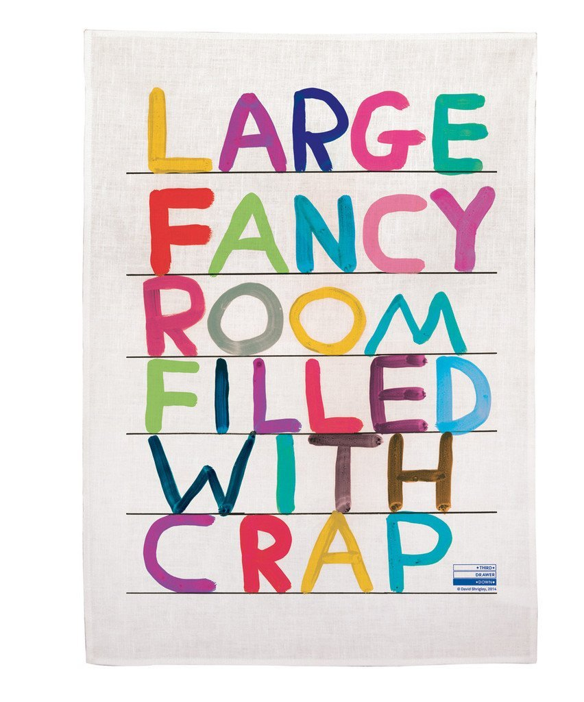 Third Drawer Down Large Fancy Room Linen Tea Towel Exclusively Designed by David Shrigley- Multicolor - Vancelette Global Art Acquisitions