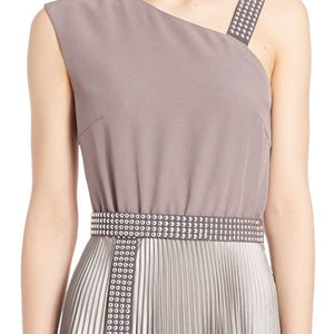 Christopher Kane Studded One Shoulder Cocktail Evening Dress Grey - Vancelette Global Art Acquisitions
