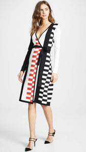 Diane von Furstenberg Women's Enzo Dress, Ivory/Black/Candy Red, Medium - Vancelette Global Art Acquisitions