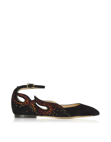 Charlotte Olympia Women's Black Suede Flats - Vancelette Global Art Acquisitions