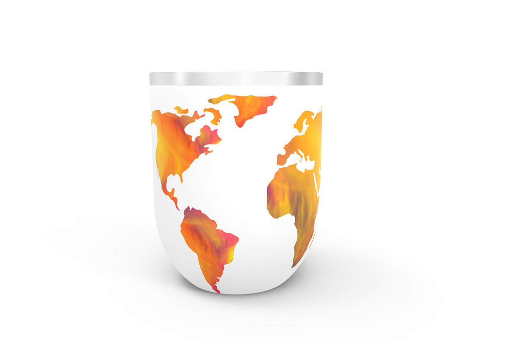 Sip The World Wine Tumbler World Map Travel Mug With Lid, Stainless Steel Stemless Wine Glass, Double Wall Vacuum Insulated 12oz White - Vancelette Global Art Acquisitions