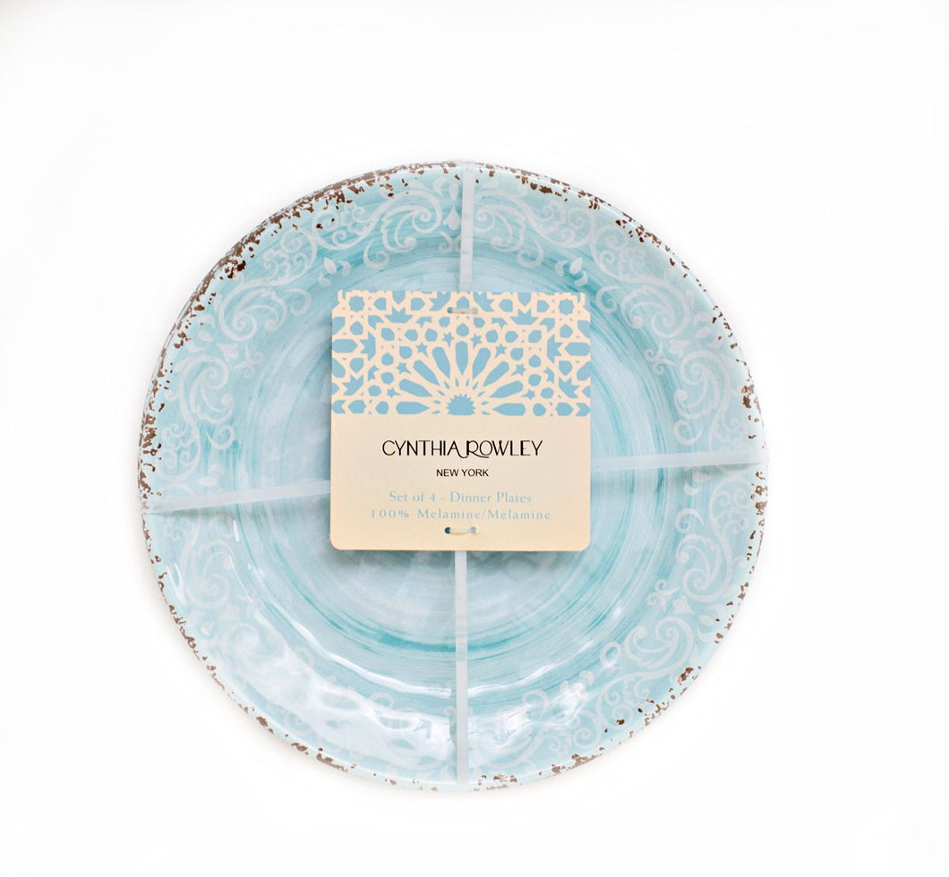 Cynthia Rowley Teal Blue Rustic Melamine Dinner Plates (4) - Vancelette Global Art Acquisitions