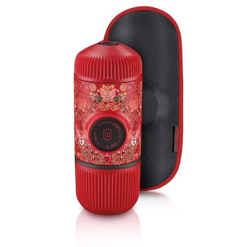 WACACO Nanopresso Portable Espresso Maker Bundled with Protective Case, Red Tattoo Pixie Limited Edition, Extra Mini Travel Coffee Maker, Compatible with Ground Coffee - Vancelette Global Art Acquisitions