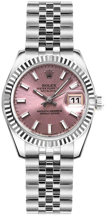 Women's Rolex Lady-Datejust 26 Pink Dial Steel Watch on Jubilee Bracelet (Ref: 179174) - Vancelette Global Art Acquisitions