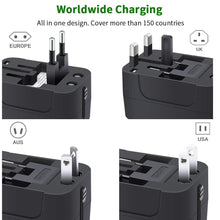 Travel Adapter, Worldwide All in One Universal Travel Adaptor Wall AC Power Plug Adapter Wall Charger with Dual USB Charging Ports for USA EU UK AUS Cell Phone Laptop - Vancelette Global Art Acquisitions