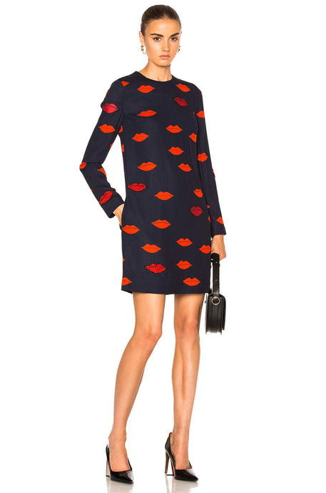 Victoria Beckham Womens Patch Applique Shift Dress Navy/Red 8 - Vancelette Global Art Acquisitions