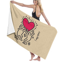 Keith Haring Beach Towels Ultra Absorbent Microfiber Bath Towel Picnic Mat for Men Women Kids White - Vancelette Global Art Acquisitions