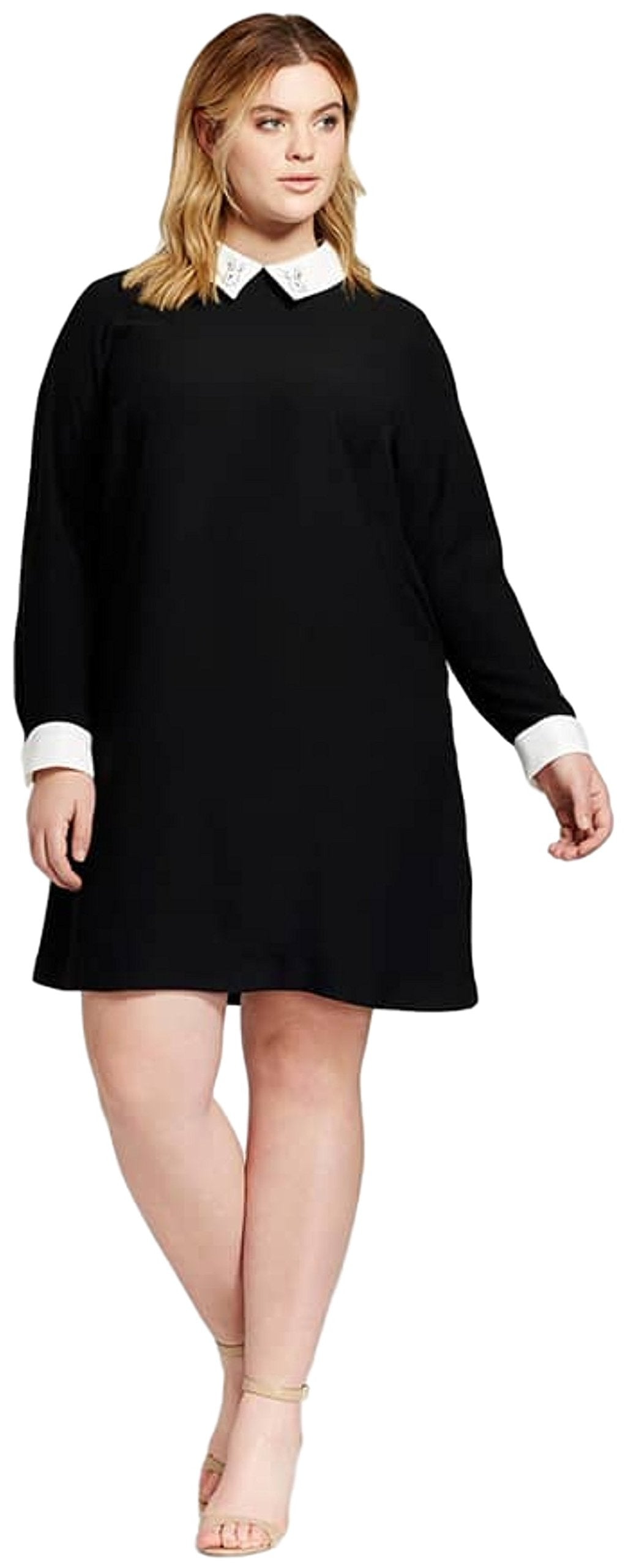 Victoria Beckham Women's Shift Dress with Bunny Collar (1X, Black)