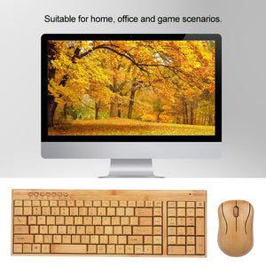 VS PICKS | TECH | 2.4G Wireless Bamboo PC Keyboard and Mouse Combo Combos Computer Keyboard Mice Office Handcrafted Natural Wooden Plug and Play - Vancelette Global Art Acquisitions