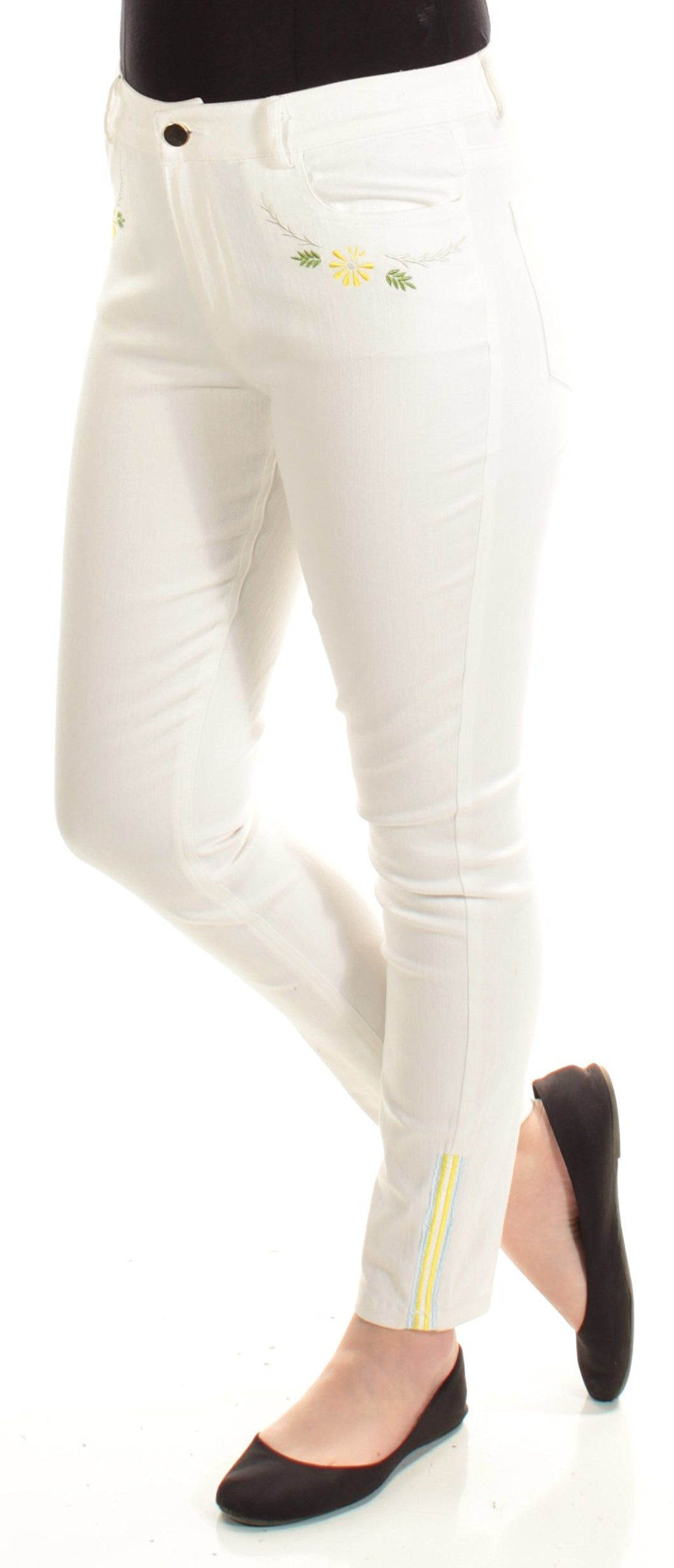 Cynthia Rowley Embroidered Skinny Jeans (White, 8) - Vancelette Global Art Acquisitions