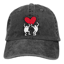 Men&Women Adjustable Yarn-Dyed Denim Baseball Cap Keith Haring Love Trucker Cap - Vancelette Global Art Acquisitions