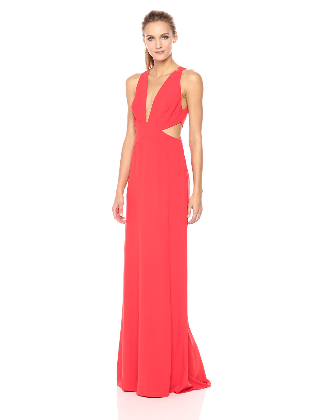 Halston Heritage Women's Sleeveless Deep V Neck Gown with Side Cut Outs, Lipstick, 4