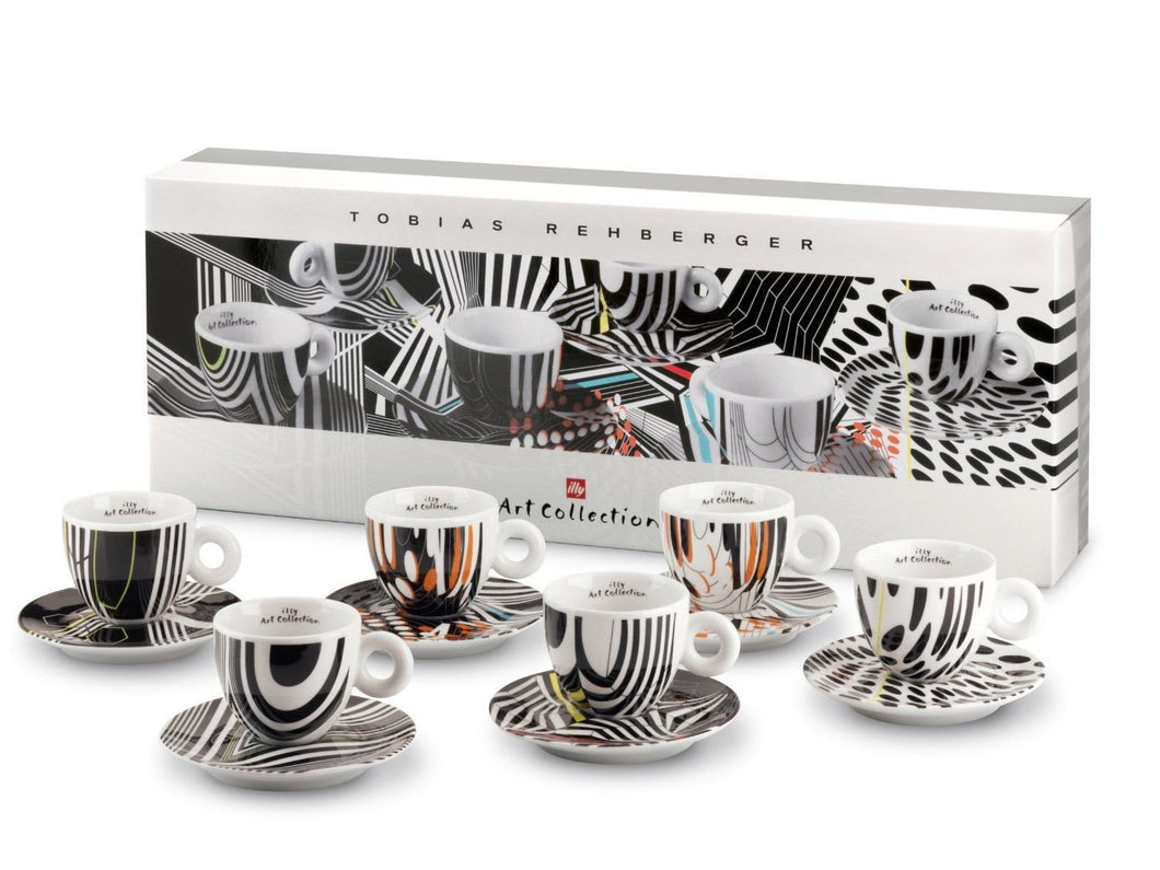 ILLY ART COLLECTION - Coffee Set by Tobias Rehberger - 6 Espresso Cup + 6 Saucers - Vancelette Global Art Acquisitions