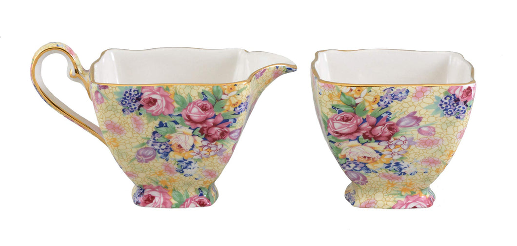 Royal Winton - Welbeck Chintz, Ascot Sugar Creamer Set - Vancelette Global Art Acquisitions