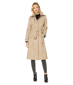 LAUREN RALPH LAUREN Long Raincoat w/Hood and Piping Sand SM
