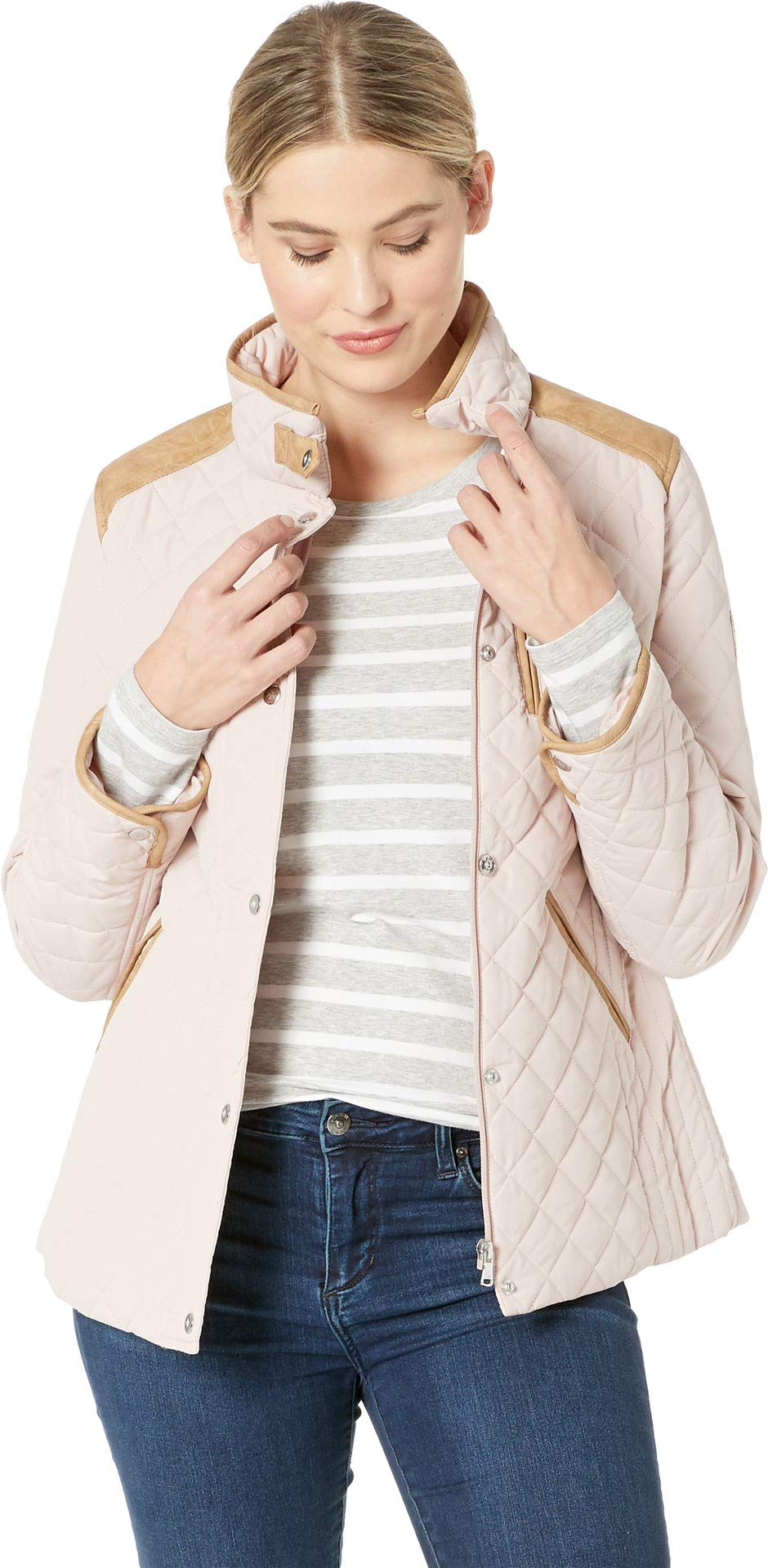 LAUREN RALPH LAUREN Women's Quilted Barn Jacket with Faux Leather Trim English Blush Small
