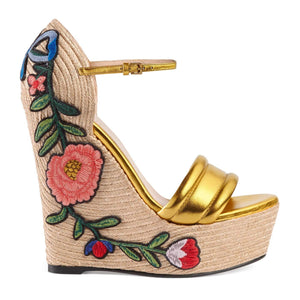 Gucci Women's Gold Leather Floral Embroidered Espadrille Wedges Shoes, Gold, 9.5