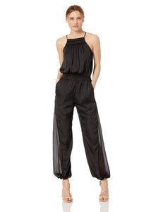 Halston Heritage Women's Sleeveless Square-Neck Jumpsuit with Smocking, Black, M