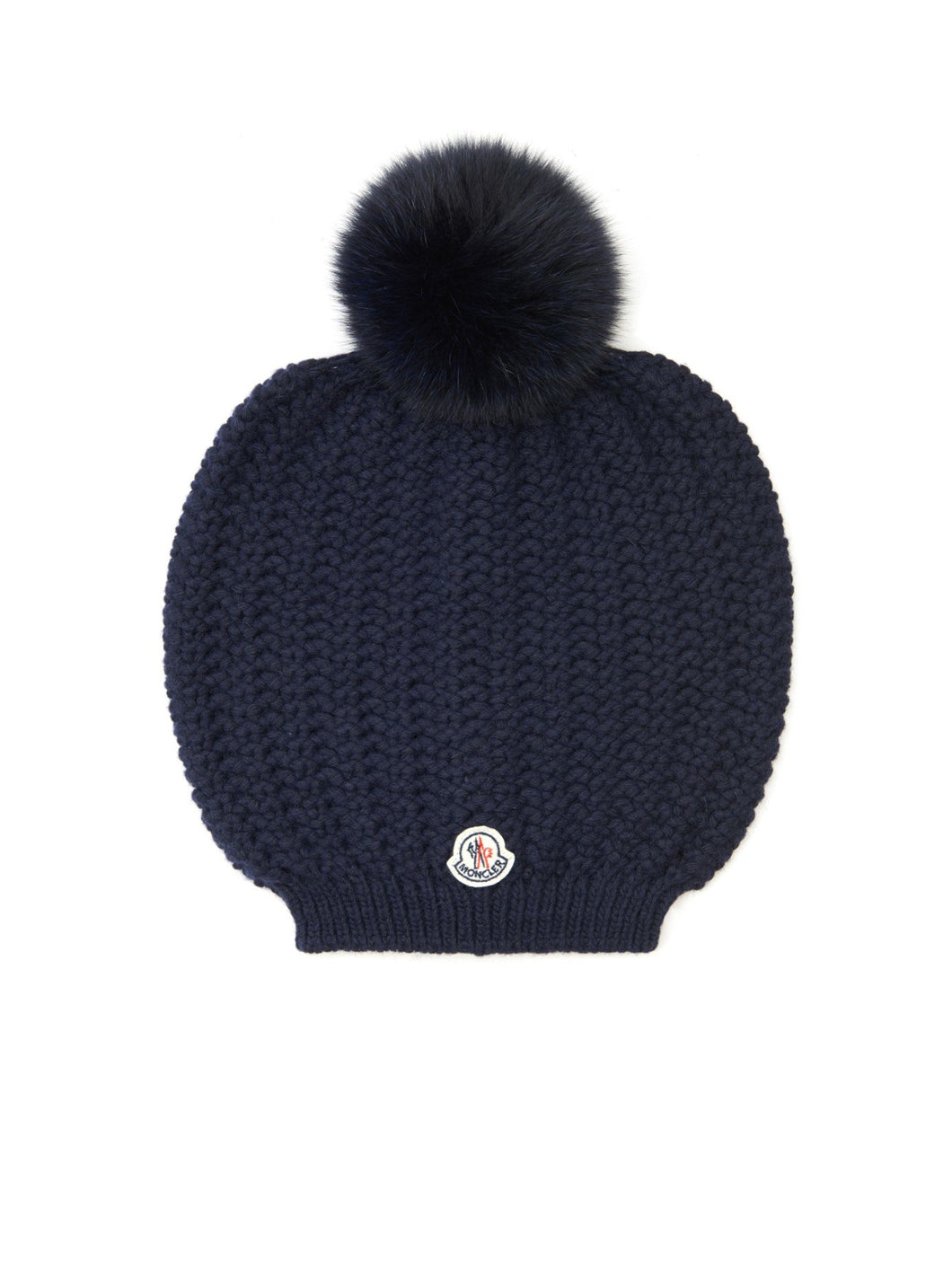 Moncler Woman's Blue Knit Pom Pom Beanie Hat - Vancelette Global Art Acquisitions