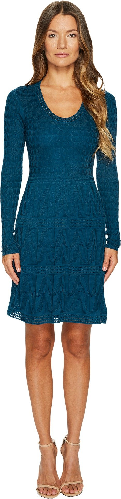 M Missoni Women's Solid Knit Scoop Neck Long Sleeve Dress Teal 44 - Vancelette Global Art Acquisitions