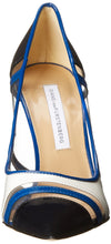 Diane von Furstenberg Women's Becca Too Dress Pump, Navy Patent/Blue Riviera/White Patent Clear Polyvinyl Chloride, 9 M US - Vancelette Global Art Acquisitions