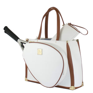 Court Couture Vintage Karisa White Pebble Tennis Bag - Vancelette Global Art Acquisitions