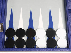 Silverman & Co. 19-inch Premium Backgammon Set - Large Size - Indigo Blue Board - Vancelette Global Art Acquisitions