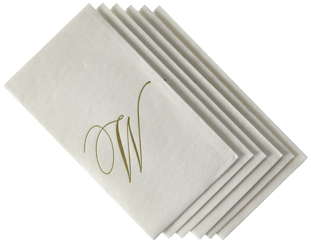 Entertaining with Caspari White Pearl Paper Linen Guest Towels, Monogram Initial W, Pack of 24 - Vancelette Global Art Acquisitions