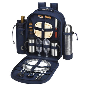 Picnic at Ascot - Deluxe Equipped 2 Person Picnic Backpack with Coffee Service, Cooler & Insulated Wine Holder - Navy - Vancelette Global Art Acquisitions
