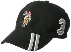 U.S. Polo Assn. Men's Polo Horse Baseball Cap, Diagonal Stripe Applique Visor, Black, One Size - Vancelette Global Art Acquisitions