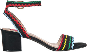 Betsey Johnson Women's Farrah Heeled Sandal, Black/Multi, 6 M US - Vancelette Global Art Acquisitions