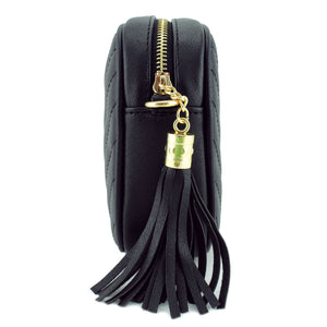Simple Shoulder Bag Crosbody with Metal Chain Strap and Tassel Top Zipper Black - Vancelette Global Art Acquisitions