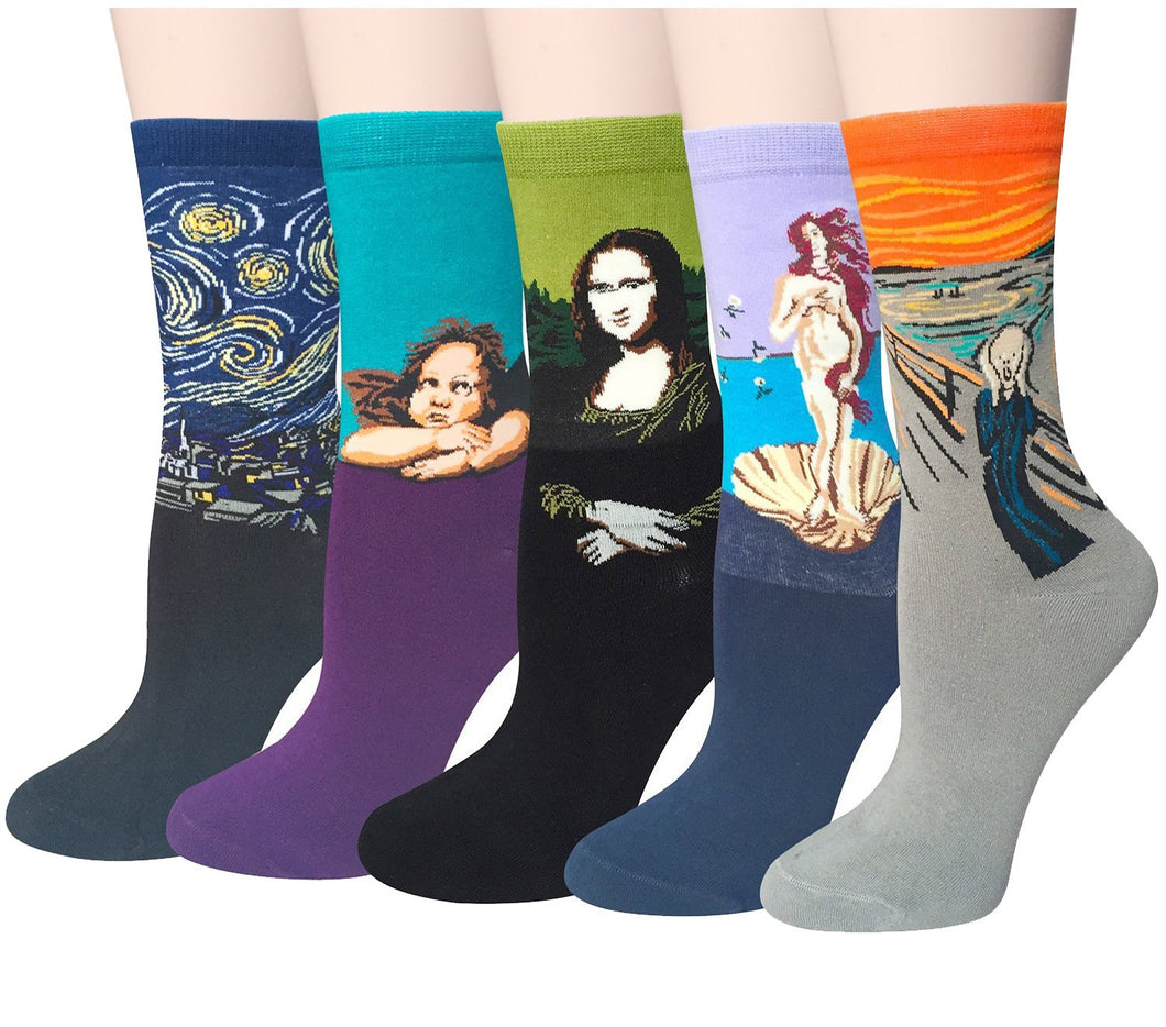Chalier 5 Pairs Womens Famous Painting Art Printed Funny Casual Cotton Crew Socks, Art Painting B, Fits shoe size, mens 5-10, womens 6-11 - Vancelette Global Art Acquisitions