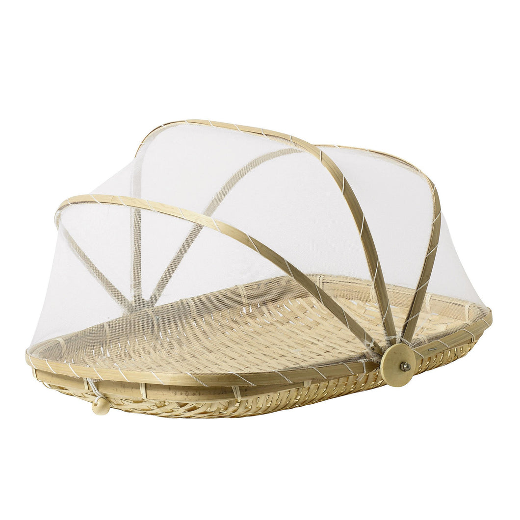 13 inch Covered Rectangular Bamboo Serving Food Tent Basket - Vancelette Global Art Acquisitions