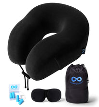 Everlasting Comfort 100% Pure Memory Foam Neck Pillow Airplane Travel Kit with Ultra Plush Velour Cover, Sleep Mask and Earplugs - Vancelette Global Art Acquisitions