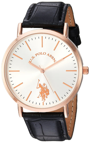 U.S. Polo Assn. Women's Analog-Quartz Watch with Leather-Synthetic Strap, Pink, 20 (Model: USC42028        ) - Vancelette Global Art Acquisitions