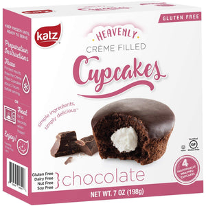 Katz Gluten Free Chocolate Crème Filled Cupcakes | Dairy, Nut, Soy and Gluten Free | Kosher (1 Pack of 4 Crème Cupcakes, 7 Ounce) - Vancelette Global Art Acquisitions