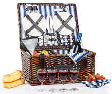Picnic Basket Set for 4 Person | Insulated Picnic Hamper Set | Picnic Table Set | Picnic Plates | Picnic Supplies | Summer Picnic Kit | Picnic Utensils Cutlery Flatware - Vancelette Global Art Acquisitions