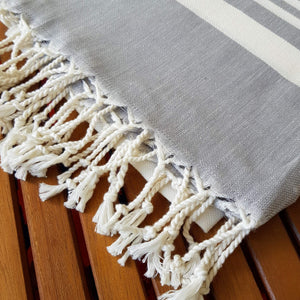 Secret Sea Collection Lightweight Turkish Peshtemal Towel %100 Bamboo 70'' x 35''  (Light Grey) - Vancelette Global Art Acquisitions