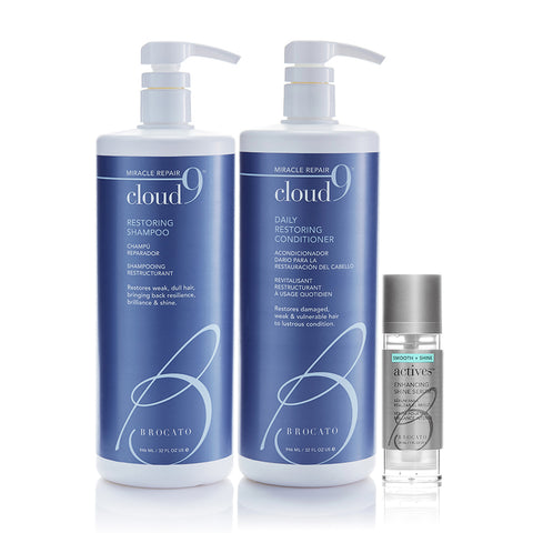 Cloud 9 Restoring Shampoo, Conditioner & Actives Enhancing Shine Serum Trios