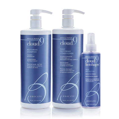 Hot Shapes Trio - Cloud 9 Shampoo & Conditioner Liter + Hot Shapes Heat Protector