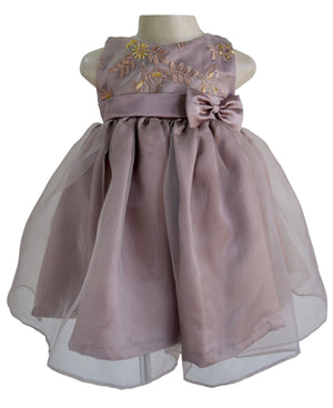Kids Wear_Faye Embroidered Mocha Tissue Dress