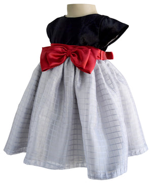 Kids Wear_Faye Black & Grey Tissue Dress