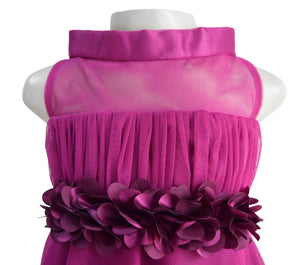 Girls Party Dress_Faye Wine High Neck Dress