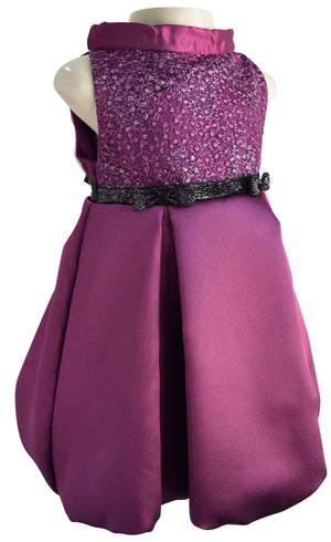 Faye Plum Pleated Kids Party Dress