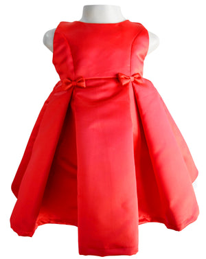 Faye Red Satin Pleated Ocassion Dress for girls with princess cut