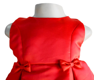 Faye Red Satin Pleated Ocassion Dress for girls